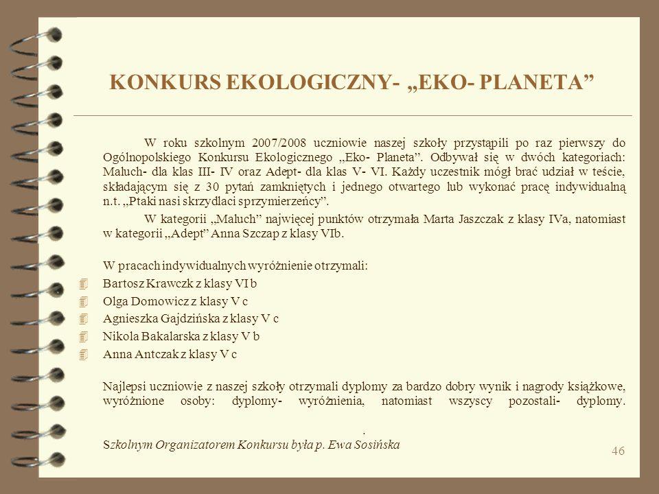 "KONKURS EKOLOGICZNY- ""EKO- PLANETA"
