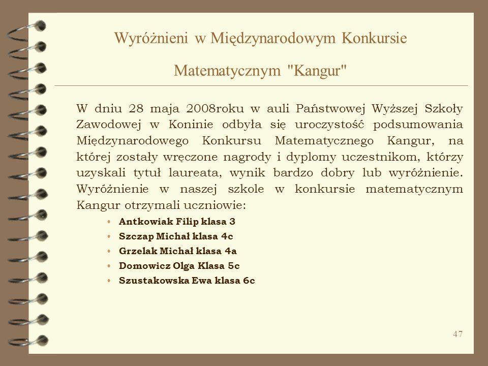Wyróżnieni w Międzynarodowym Konkursie Matematycznym Kangur