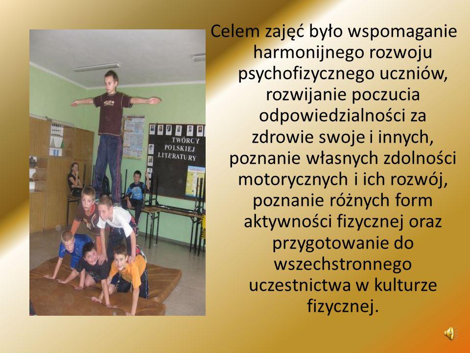 Celem zajęć było wspomaganie harmonijnego rozwoju psychofizycznego uczniów, rozwijanie poczucia odpowiedzialności za zdrowie swoje i innych, poznanie własnych zdolności motorycznych i ich rozwój, poznanie różnych form aktywności fizycznej oraz przygotowanie do wszechstronnego uczestnictwa w kulturze fizycznej.