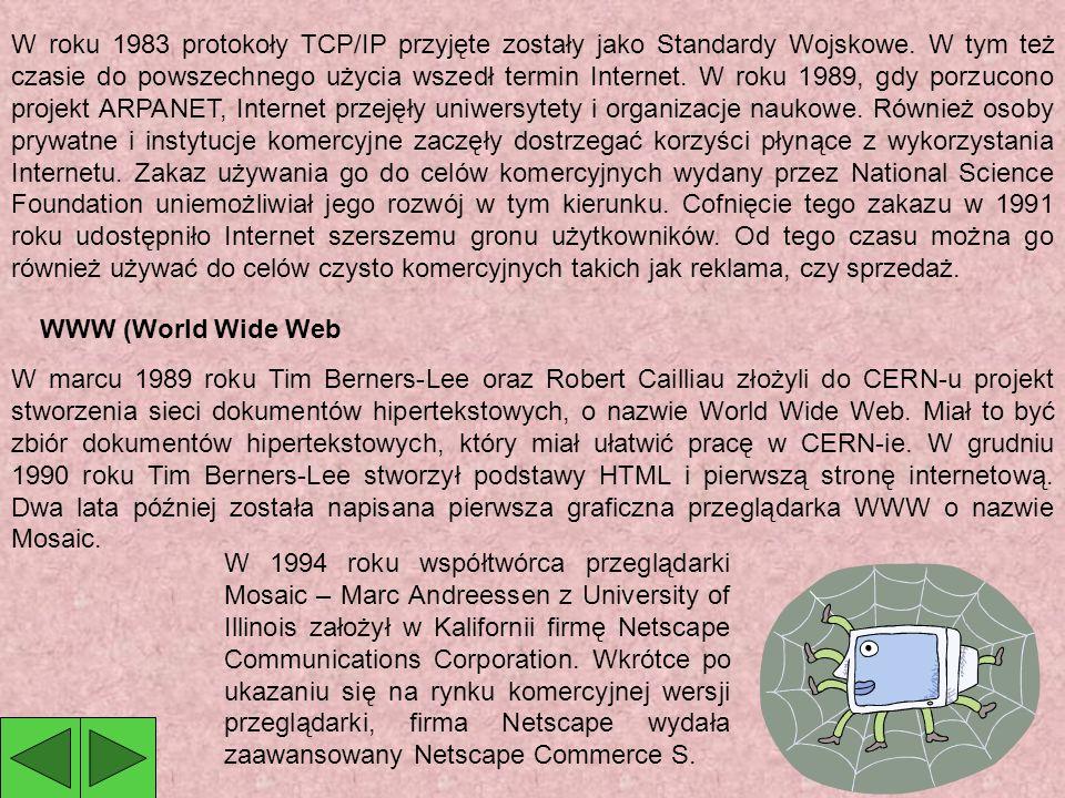 W roku 1983 protokoły TCP/IP przyjęte zostały jako Standardy Wojskowe