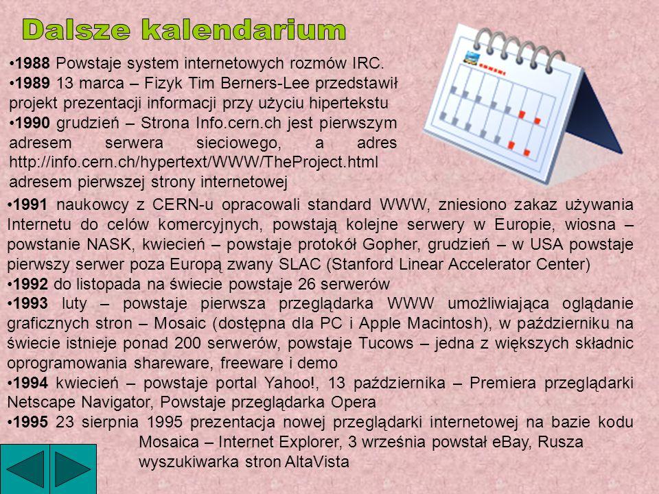 Dalsze kalendarium 1988 Powstaje system internetowych rozmów IRC.