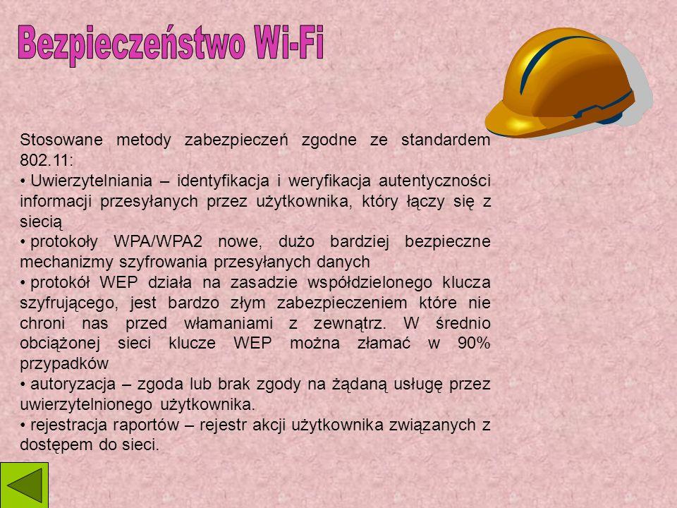 Bezpieczeństwo Wi-Fi Stosowane metody zabezpieczeń zgodne ze standardem 802.11: