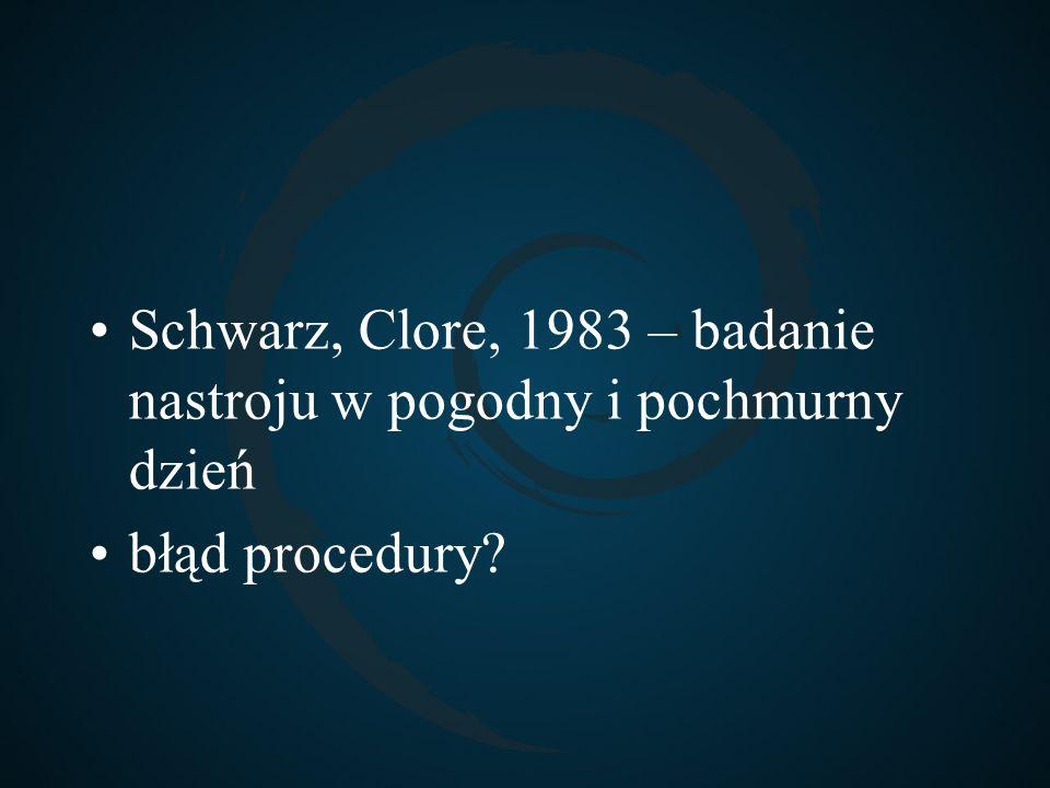 Schwarz, Clore, 1983 – badanie nastroju w pogodny i pochmurny dzień