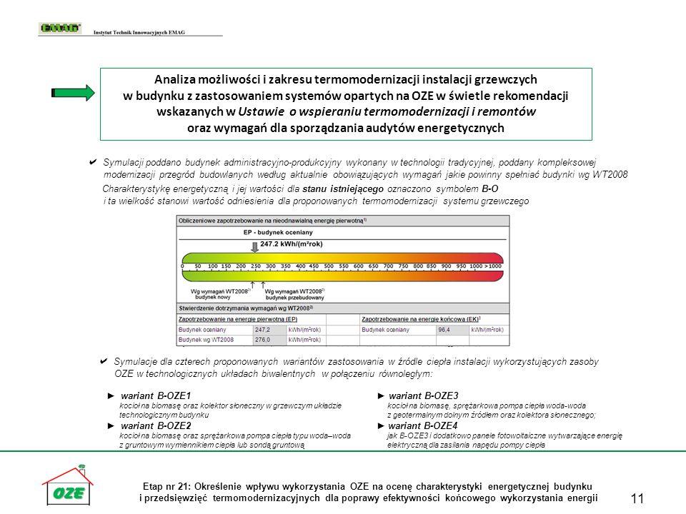 Analiza możliwości i zakresu termomodernizacji instalacji grzewczych w budynku z zastosowaniem systemów opartych na OZE w świetle rekomendacji wskazanych w Ustawie o wspieraniu termomodernizacji i remontów oraz wymagań dla sporządzania audytów energetycznych