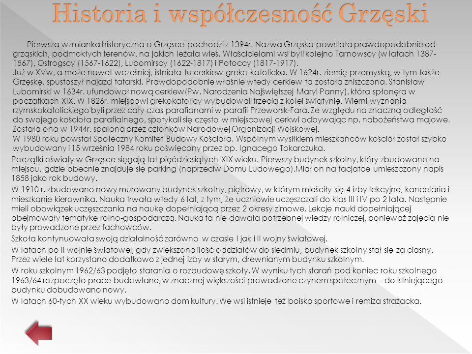 Historia i współczesność Grzęski