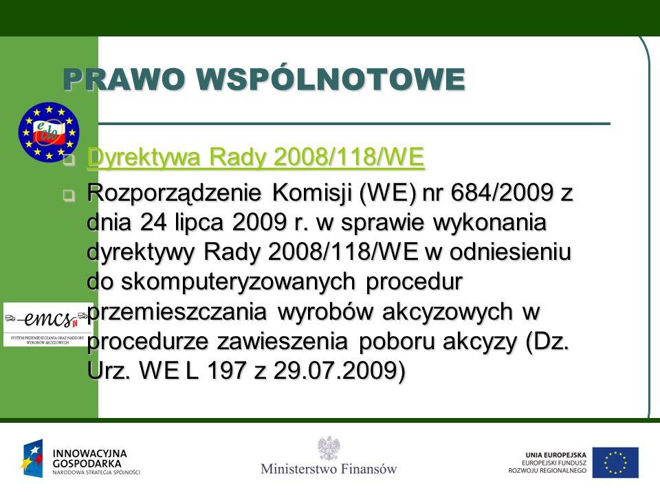 PRAWO WSPÓLNOTOWE Dyrektywa Rady 2008/118/WE