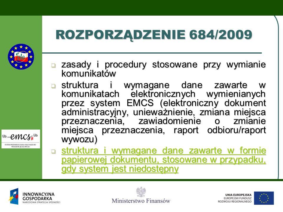 ROZPORZĄDZENIE 684/2009zasady i procedury stosowane przy wymianie komunikatów.