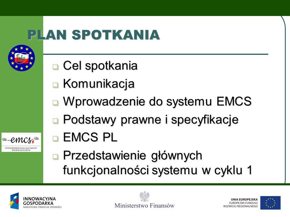 PLAN SPOTKANIA Cel spotkania Komunikacja Wprowadzenie do systemu EMCS
