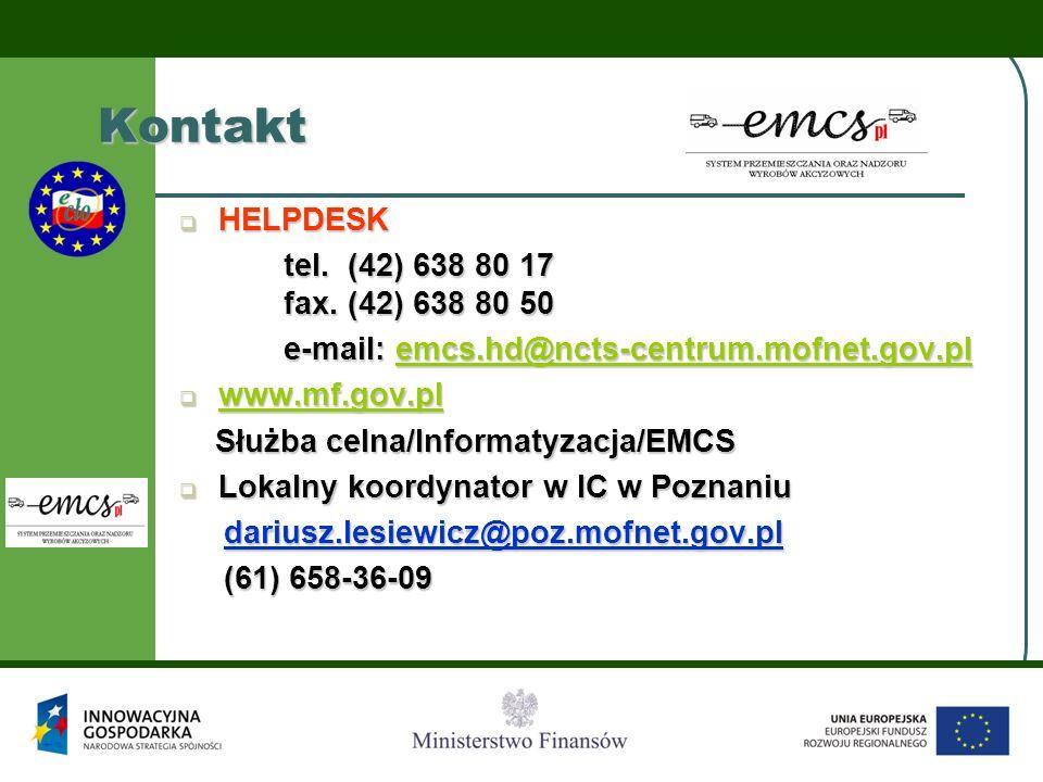 Kontakt HELPDESK tel. (42) 638 80 17 fax. (42) 638 80 50