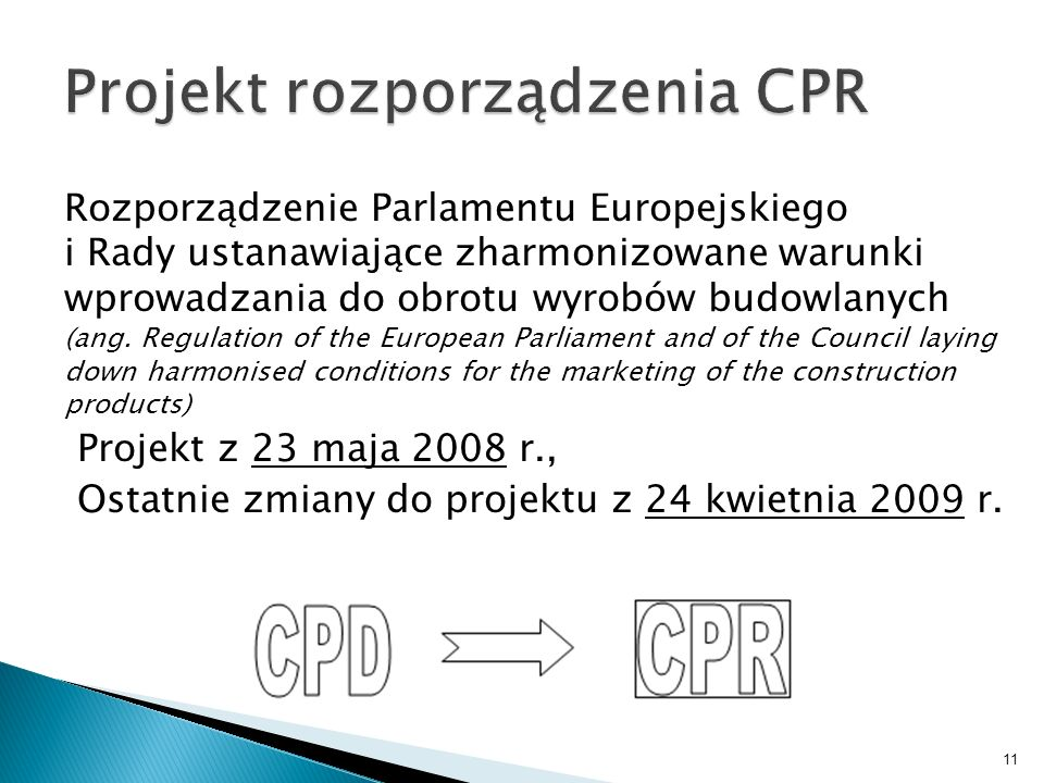 Projekt rozporządzenia CPR