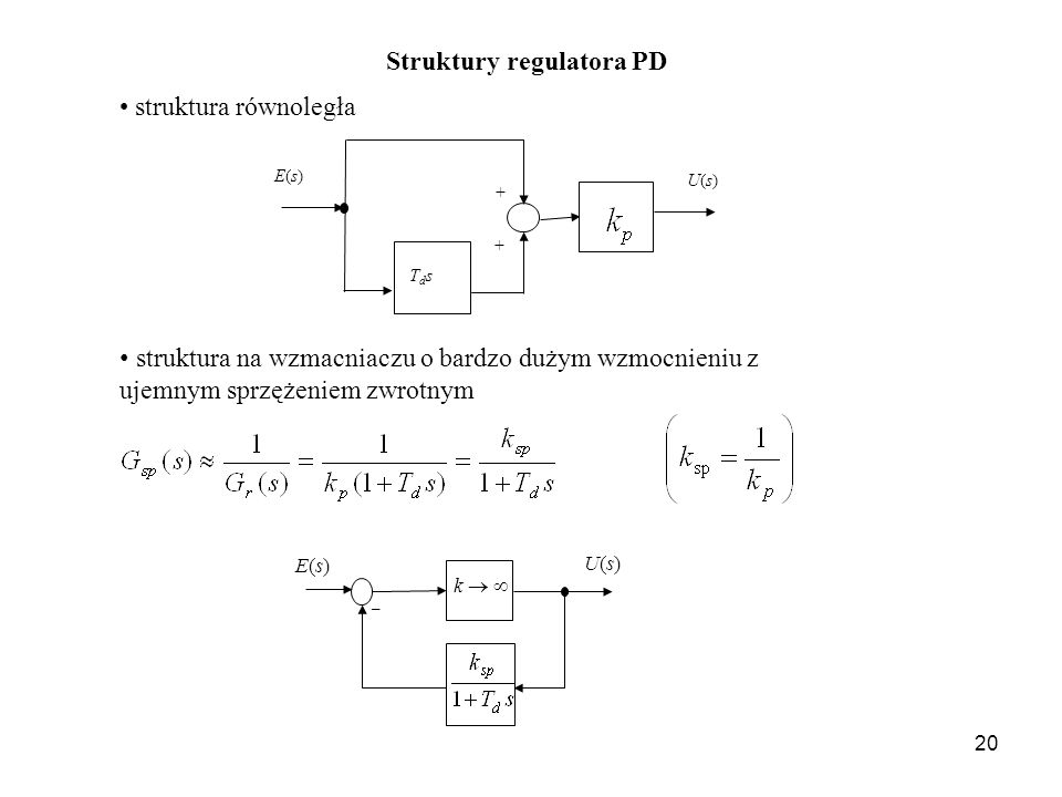 Struktury regulatora PD