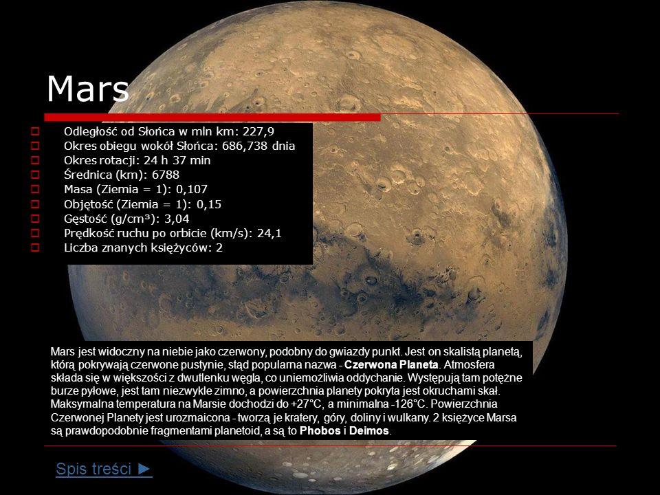 Mars Spis treści ► Odległość od Słońca w mln km: 227,9