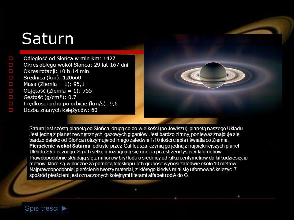 Saturn Spis treści ► Odległość od Słońca w mln km: 1427