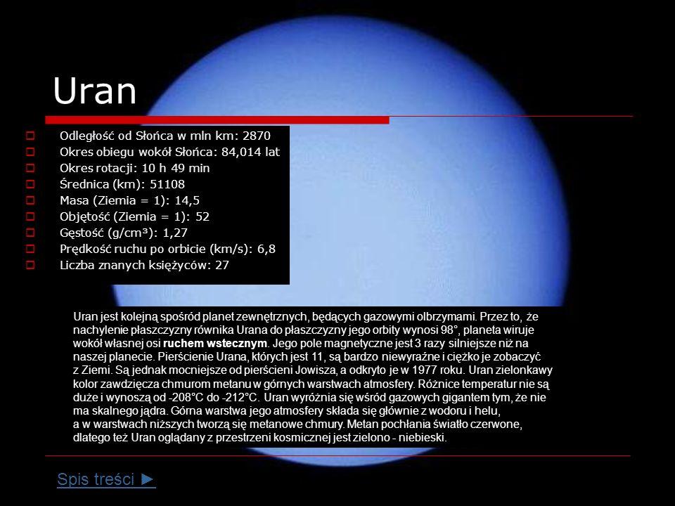 Uran Spis treści ► Odległość od Słońca w mln km: 2870