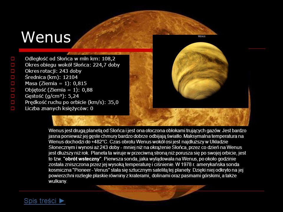 Wenus Spis treści ► Odległość od Słońca w mln km: 108,2