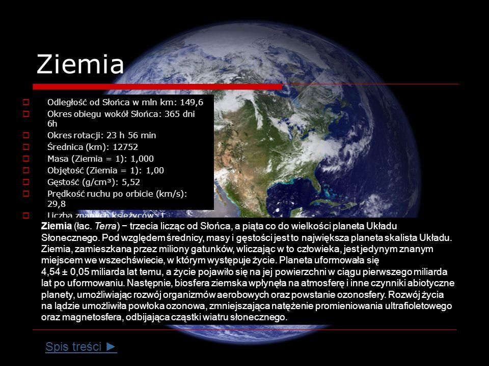 Ziemia Odległość od Słońca w mln km: 149,6. Okres obiegu wokół Słońca: 365 dni 6h. Okres rotacji: 23 h 56 min.