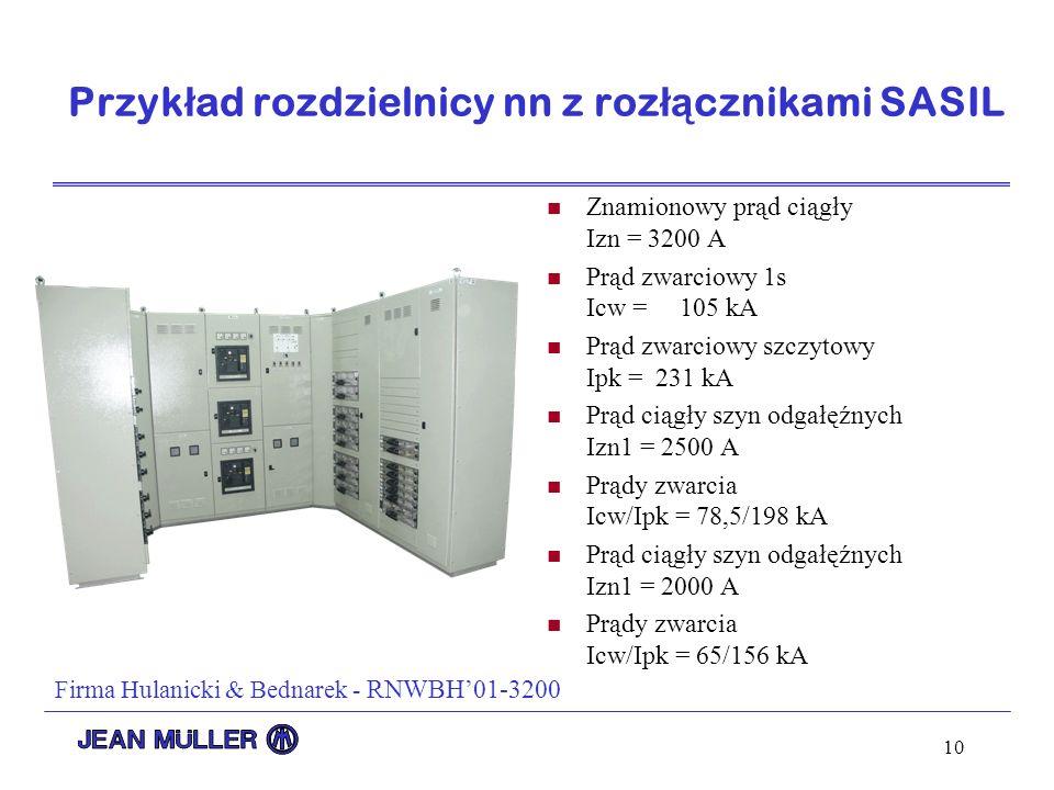 Przykład rozdzielnicy nn z rozłącznikami SASIL