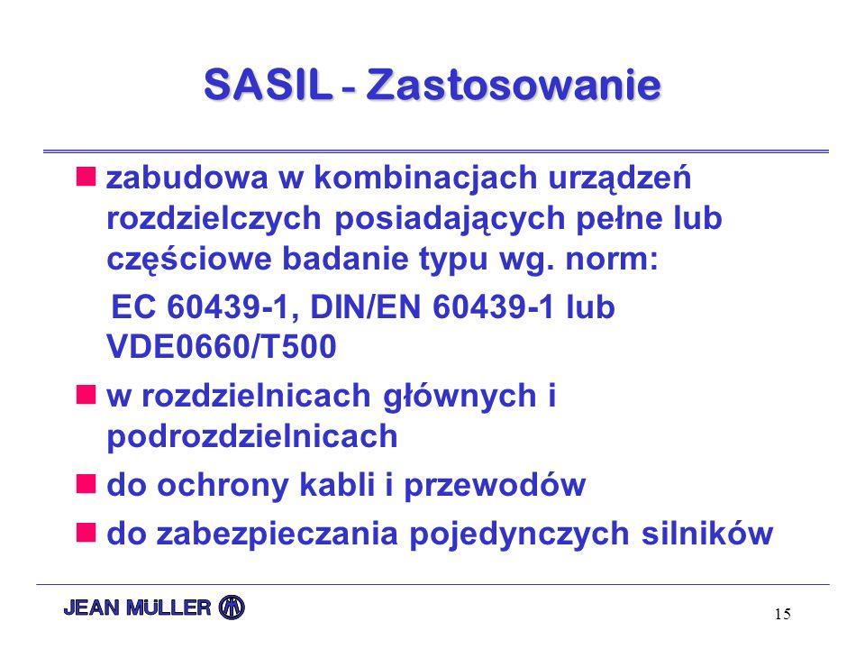 SASIL - Zastosowanie zabudowa w kombinacjach urządzeń rozdzielczych posiadających pełne lub częściowe badanie typu wg. norm:
