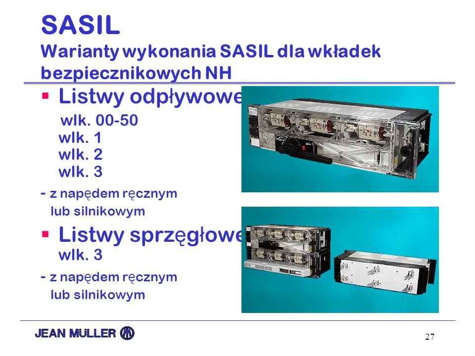 SASIL Warianty wykonania SASIL dla wkładek bezpiecznikowych NH