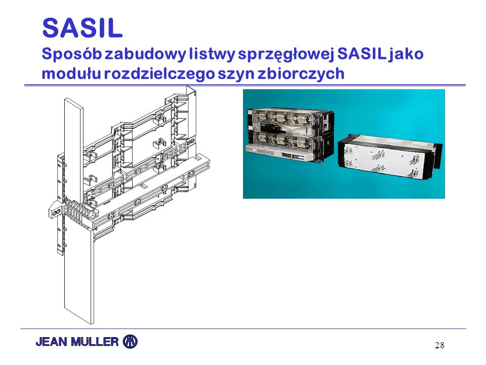 SASIL Sposób zabudowy listwy sprzęgłowej SASIL jako modułu rozdzielczego szyn zbiorczych