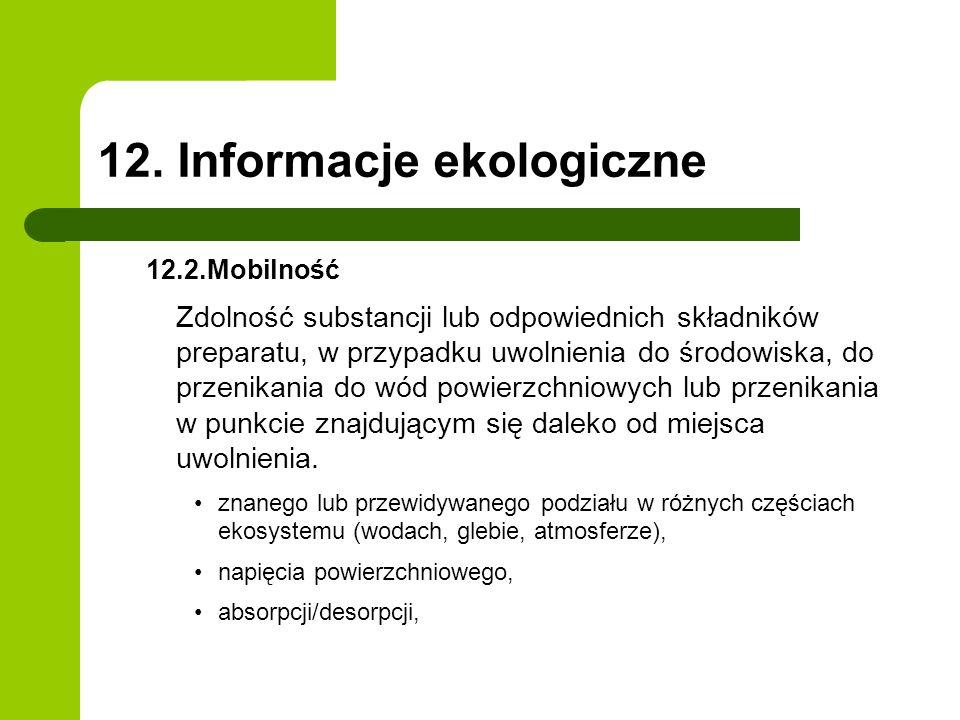 12. Informacje ekologiczne