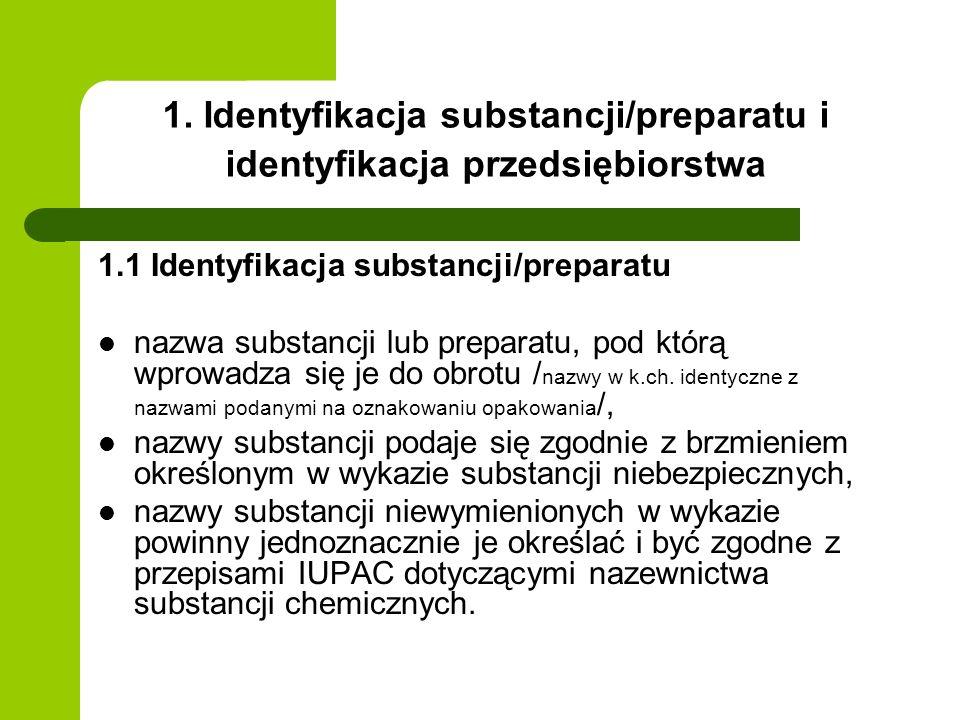 1. Identyfikacja substancji/preparatu i identyfikacja przedsiębiorstwa
