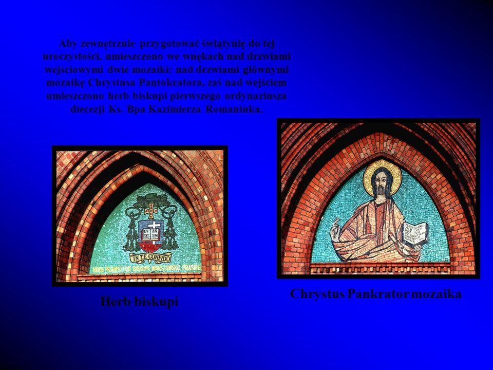 Chrystus Pankrator mozaika Herb biskupi