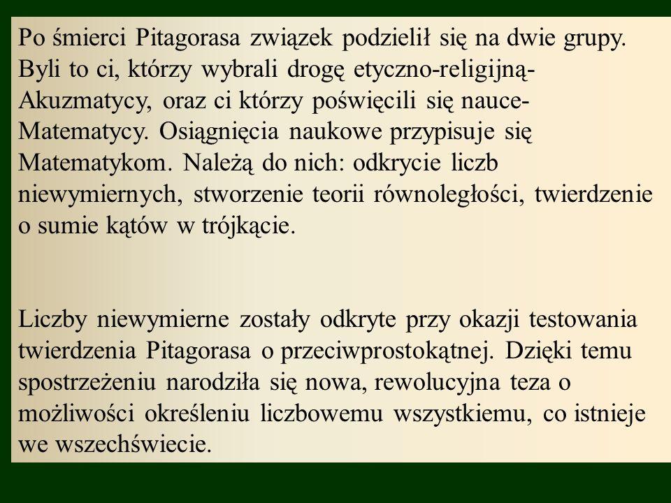 Po śmierci Pitagorasa związek podzielił się na dwie grupy