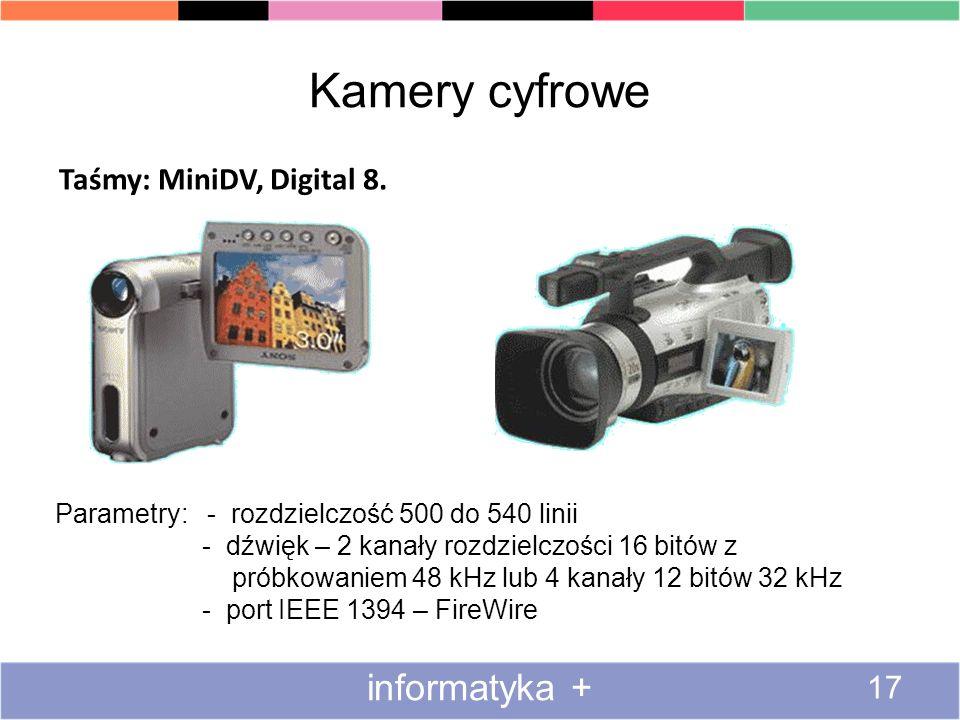 Kamery cyfrowe informatyka + Taśmy: MiniDV, Digital 8.