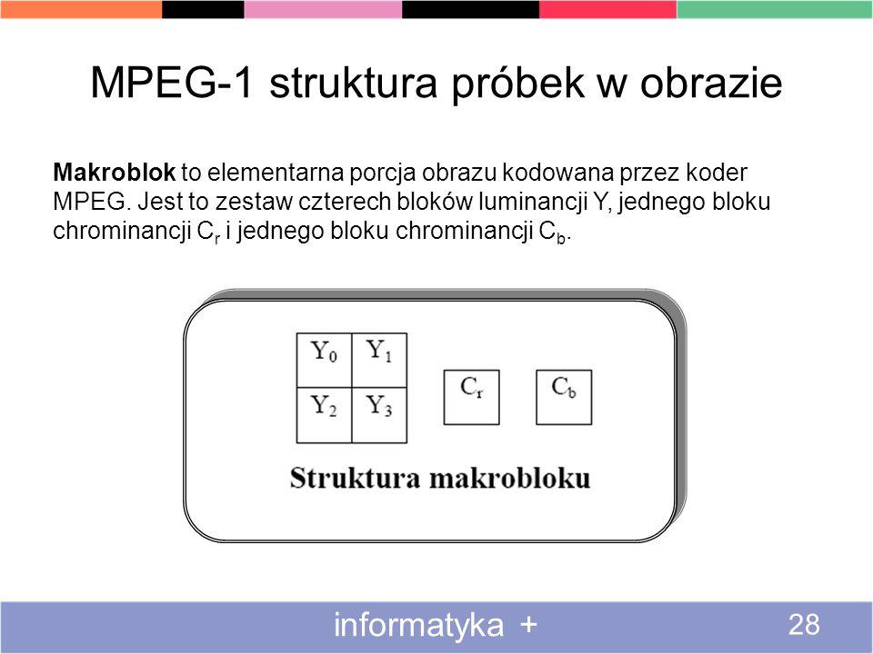 MPEG-1 struktura próbek w obrazie