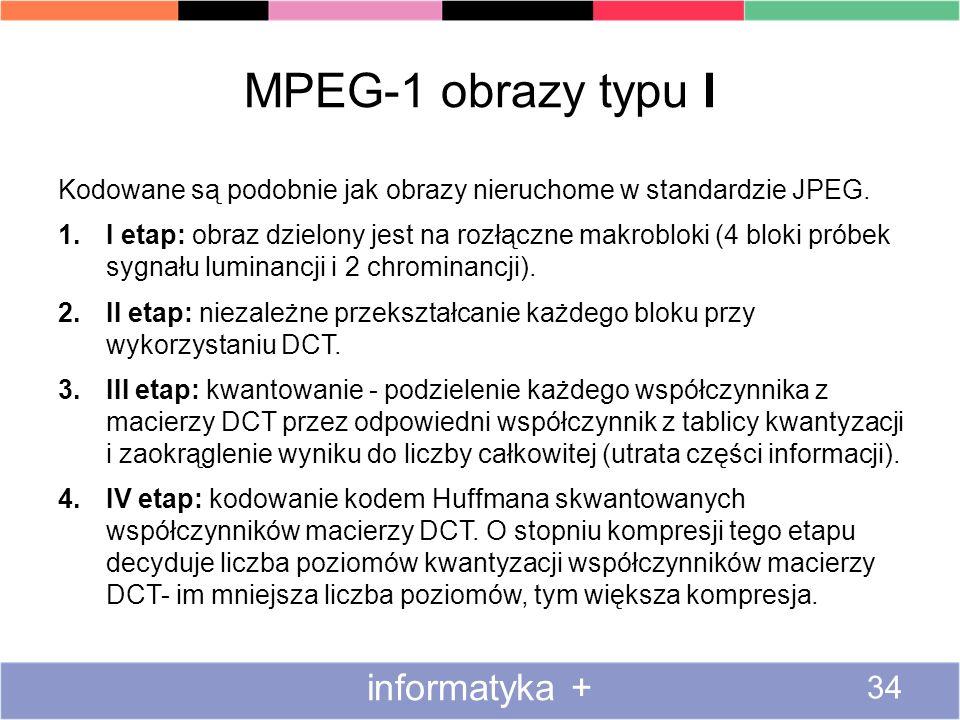 MPEG-1 obrazy typu I informatyka +