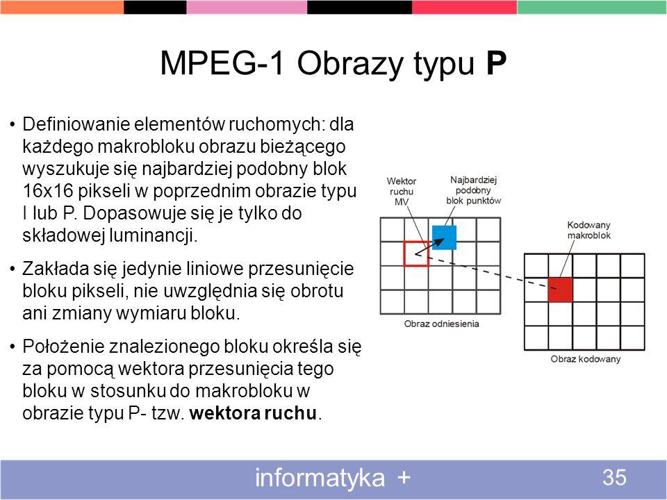 MPEG-1 Obrazy typu P informatyka +