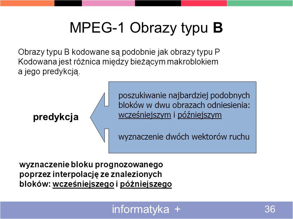 MPEG-1 Obrazy typu B informatyka + predykcja