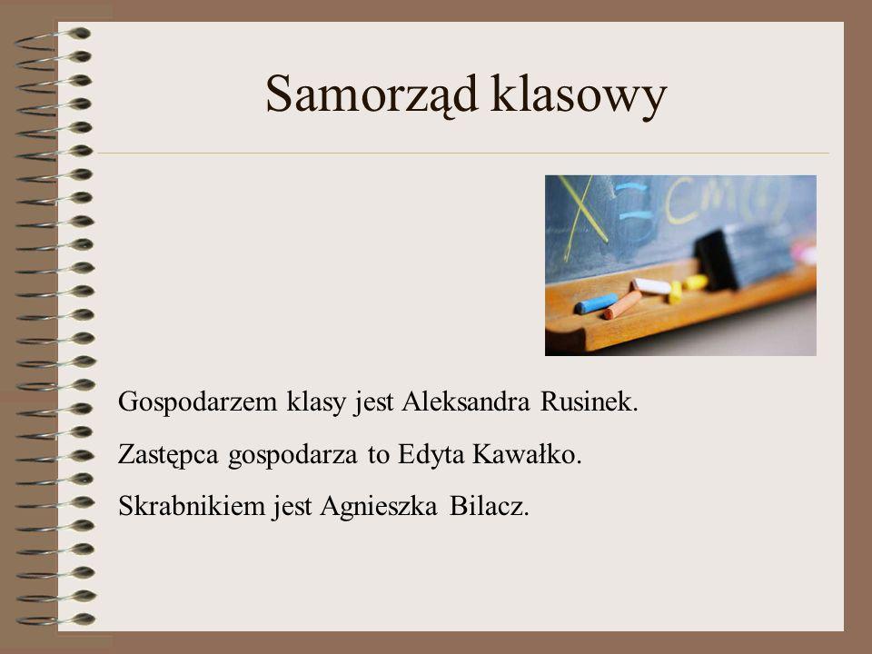Samorząd klasowy Gospodarzem klasy jest Aleksandra Rusinek.