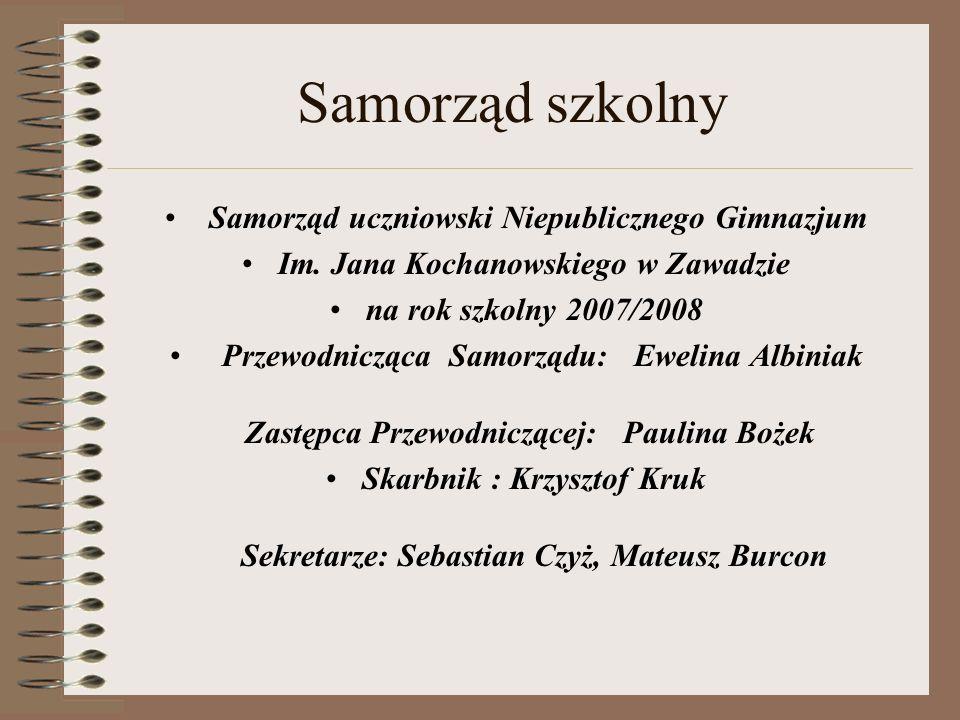 Samorząd szkolny Samorząd uczniowski Niepublicznego Gimnazjum