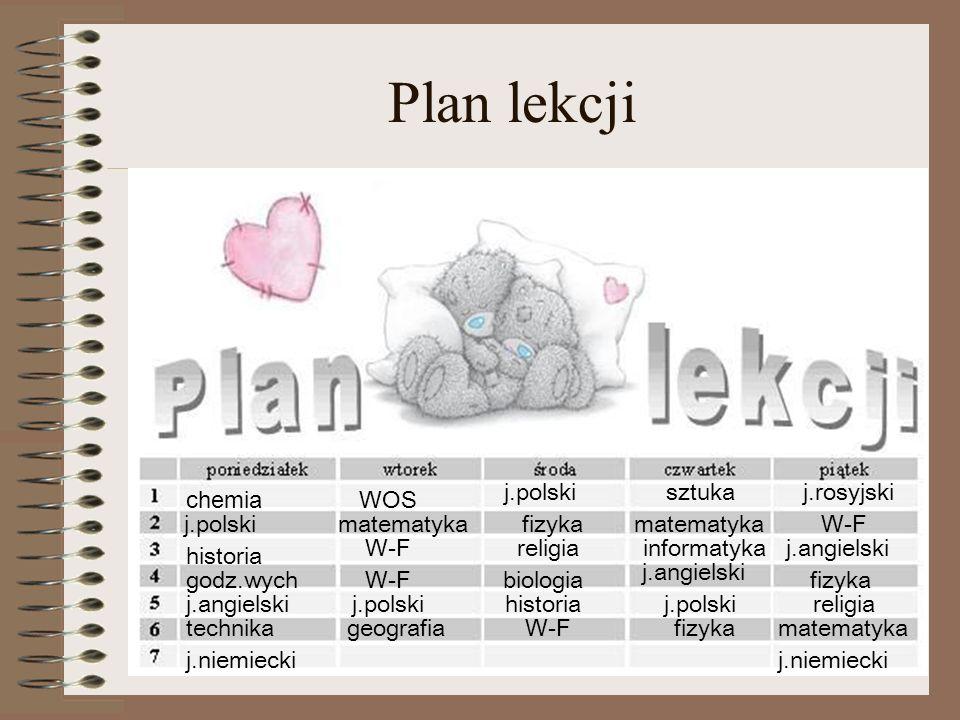 Plan lekcji j.polski sztuka j.rosyjski chemia WOS j.polski matematyka
