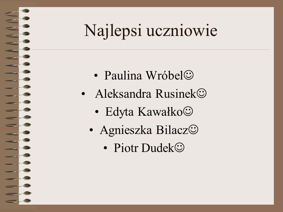 Najlepsi uczniowie Paulina Wróbel Aleksandra Rusinek Edyta Kawałko
