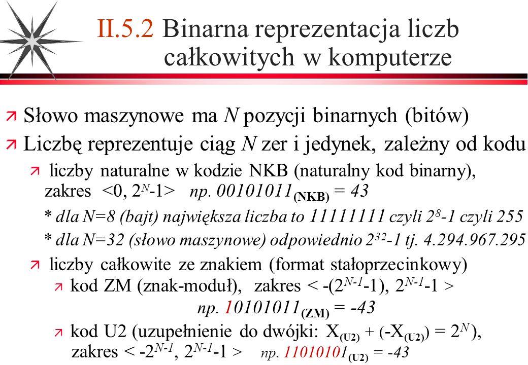II.5.2 Binarna reprezentacja liczb całkowitych w komputerze
