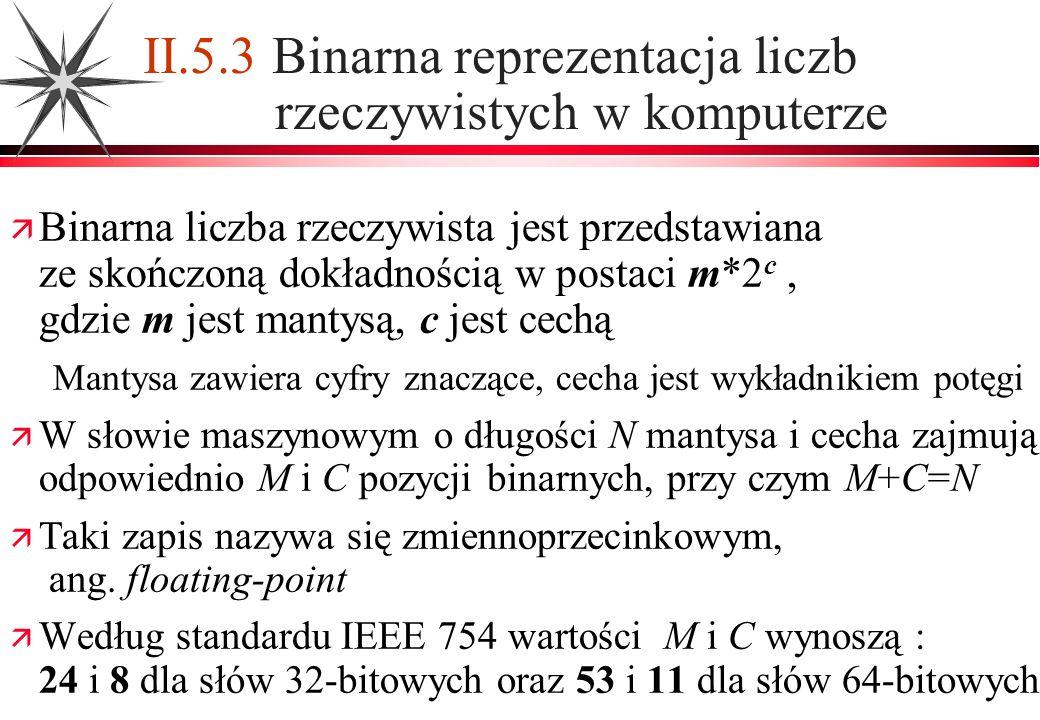 II.5.3 Binarna reprezentacja liczb rzeczywistych w komputerze