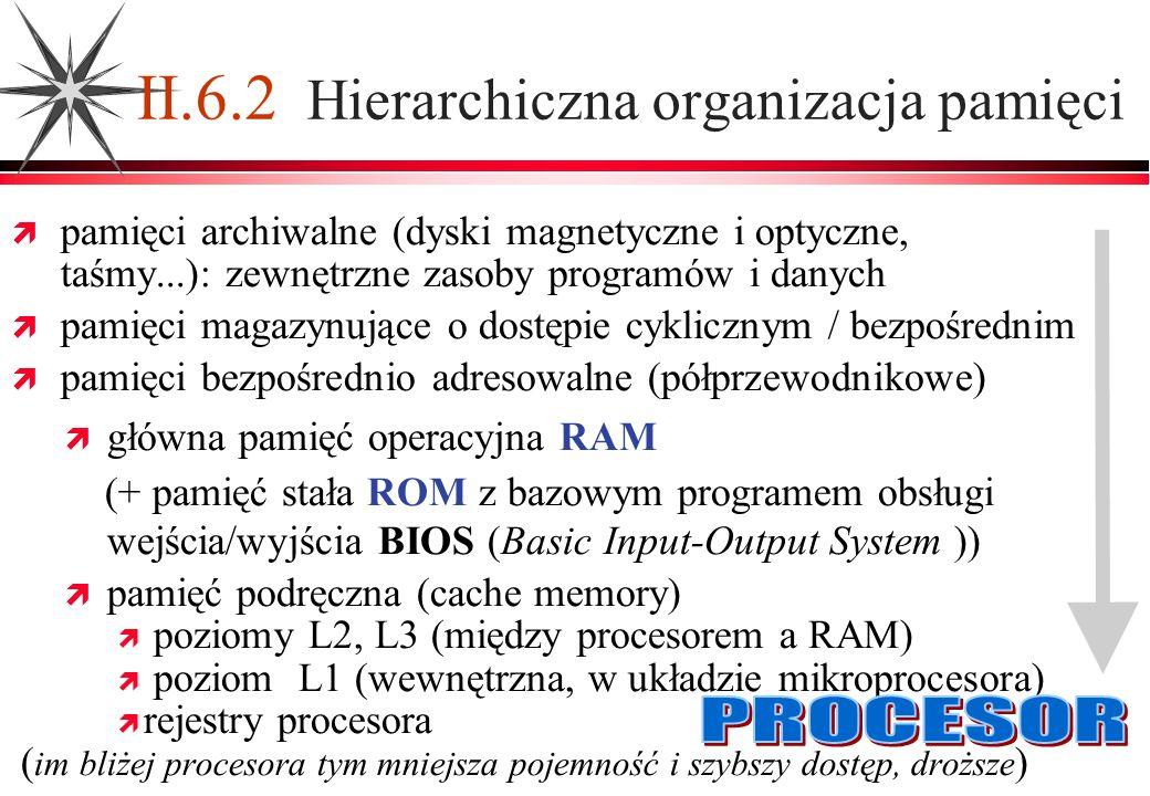 II.6.2 Hierarchiczna organizacja pamięci