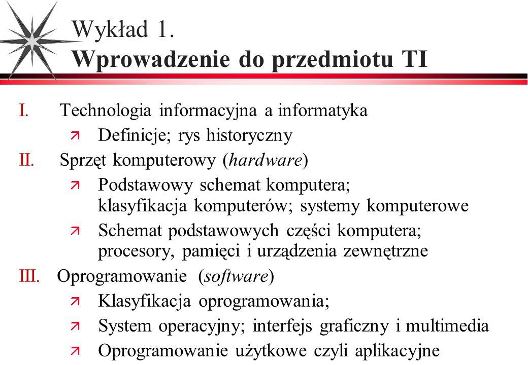 Wykład 1. Wprowadzenie do przedmiotu TI