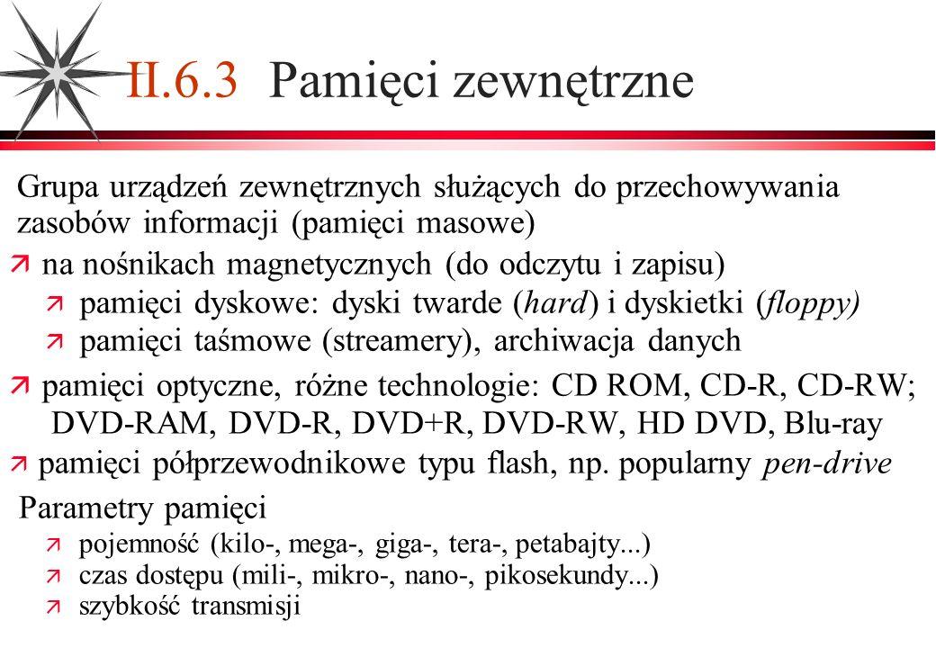 II.6.3 Pamięci zewnętrzne Grupa urządzeń zewnętrznych służących do przechowywania zasobów informacji (pamięci masowe)