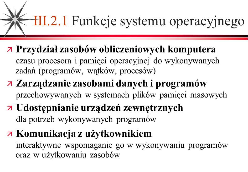 III.2.1 Funkcje systemu operacyjnego