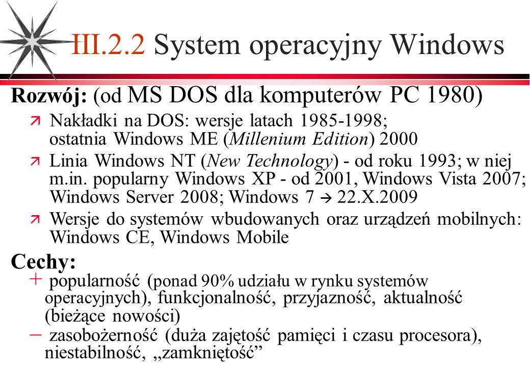 III.2.2 System operacyjny Windows