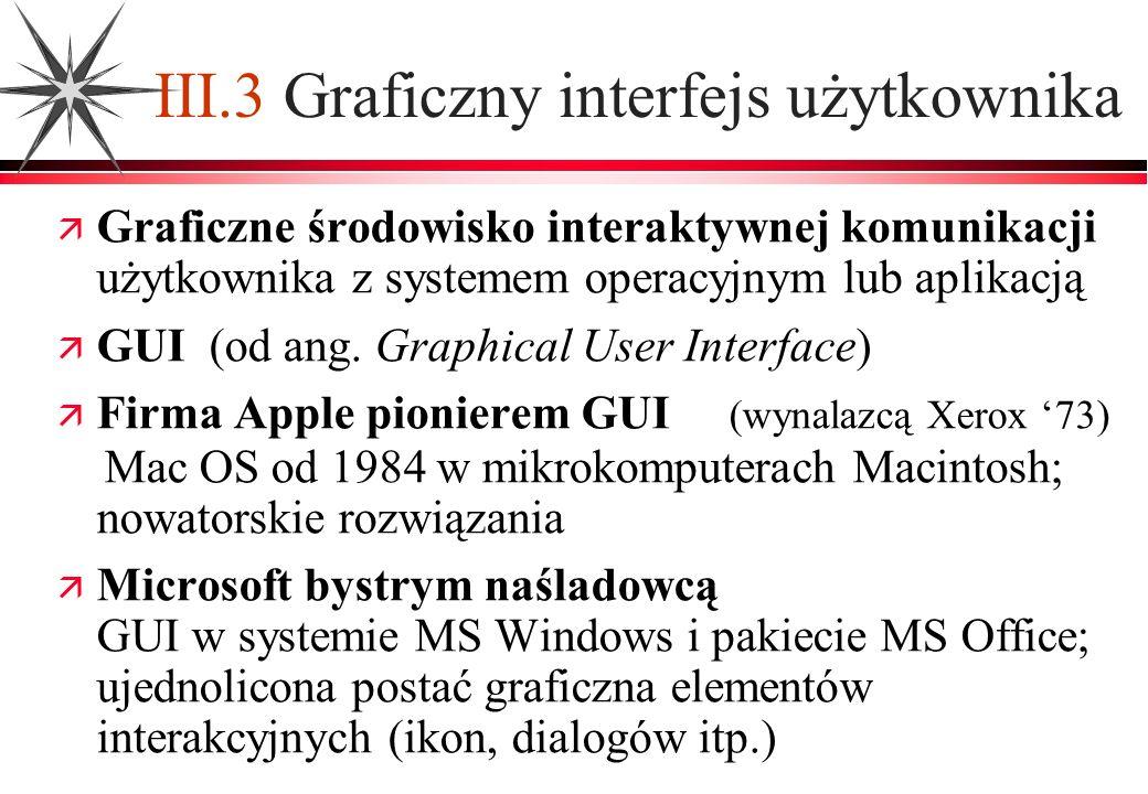 III.3 Graficzny interfejs użytkownika