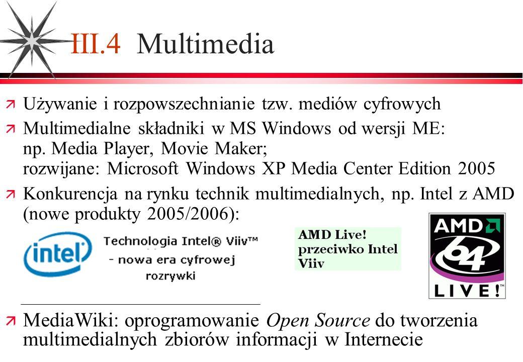 III.4 Multimedia Używanie i rozpowszechnianie tzw. mediów cyfrowych.