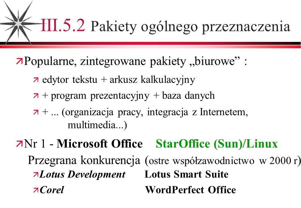 III.5.2 Pakiety ogólnego przeznaczenia