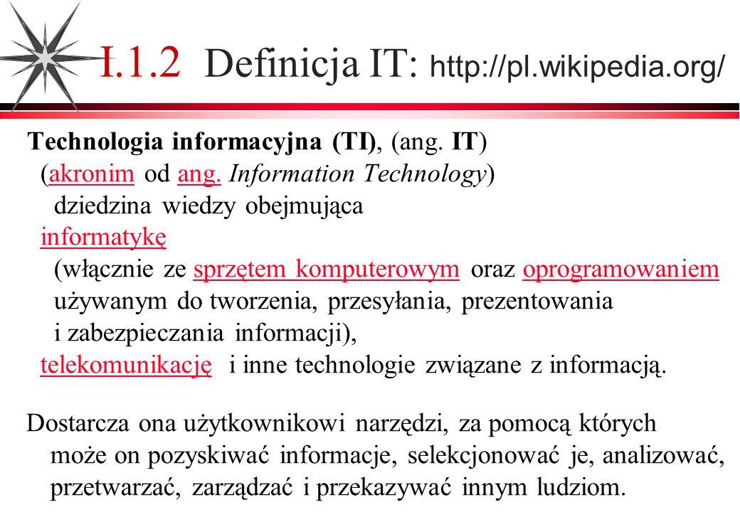 I.1.2 Definicja IT: http://pl.wikipedia.org/