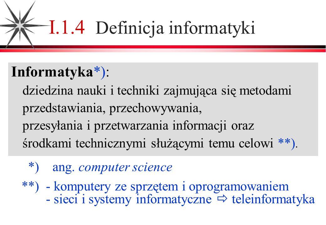 I.1.4 Definicja informatyki