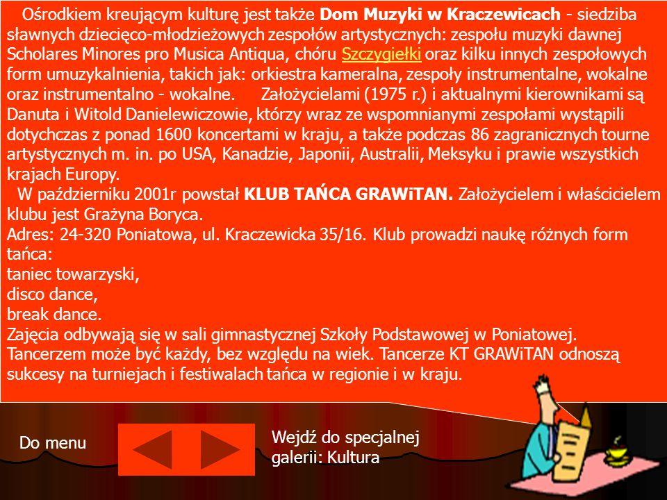 Ośrodkiem kreującym kulturę jest także Dom Muzyki w Kraczewicach - siedziba sławnych dziecięco-młodzieżowych zespołów artystycznych: zespołu muzyki dawnej Scholares Minores pro Musica Antiqua, chóru Szczygiełki oraz kilku innych zespołowych form umuzykalnienia, takich jak: orkiestra kameralna, zespoły instrumentalne, wokalne oraz instrumentalno - wokalne. Założycielami (1975 r.) i aktualnymi kierownikami są Danuta i Witold Danielewiczowie, którzy wraz ze wspomnianymi zespołami wystąpili dotychczas z ponad 1600 koncertami w kraju, a także podczas 86 zagranicznych tourne artystycznych m. in. po USA, Kanadzie, Japonii, Australii, Meksyku i prawie wszystkich krajach Europy. W październiku 2001r powstał KLUB TAŃCA GRAWiTAN. Założycielem i właścicielem klubu jest Grażyna Boryca.